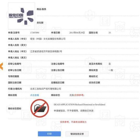 """尴尬!""""视觉中国""""商标注册未获通过"""